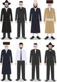 Ensemble de différent vieux juif debout et de jeunes hommes dans l'habillement traditionnel d'isolement sur le fond blanc illustration stock