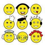 Ensemble de différentes émoticônes Smiley : vampire, artiste, chef, ange, mélomane, sourire, larmes, amour, despote illustration libre de droits