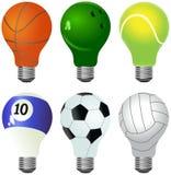 Ensemble de différentes ampoules conçues en tant que boules sportives illustration libre de droits