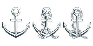 Ensemble de différentes ancres pour la conception marine Illustration d'une ancre du ` s de bateau avec une corde Images libres de droits