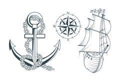 Ensemble de différentes ancres pour la conception marine Illustration d'une ancre du ` s de bateau avec une corde et un bateau Photos libres de droits