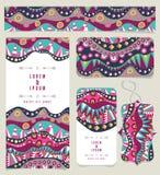 Ensemble de différentes bannières avec des couleurs indigènes de vintage de modèle illustration stock