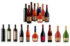 Ensemble de différentes bouteilles. Vecteur Photos libres de droits