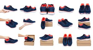 ensemble de différentes chaussures bleues femelles de sport avec la boîte et la main d'isolement sur le fond blanc Image stock