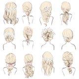Ensemble de différentes coiffures de mariage avec des fleurs pour des blondes Images stock