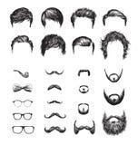 Ensemble de différentes coupes de cheveux, de barbes, de verres, de bowtie et de tuyau de hippie illustration stock