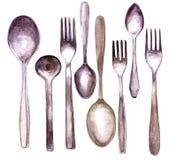 Ensemble de différentes cuillères et fourchettes Photo stock