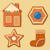 Ensemble de différentes figurines de pain d'épice pour l'idée de Noël Images stock