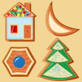 Ensemble de différentes figurines de pain d'épice pour la décoration de Noël Photos libres de droits