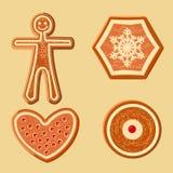 Ensemble de différentes figurines de pain d'épice pour la décoration de Noël Images libres de droits