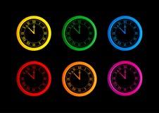 Ensemble de différentes horloges colorées de vecteur Images libres de droits