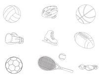 Ensemble de différentes icônes de sport Sur le fond blanc Illustration de vecteur Image libre de droits