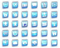 Ensemble de différentes icônes rayées bleues de Web Images stock