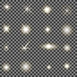 Ensemble de différentes lumières blanches Photo libre de droits