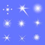 Ensemble de différentes lumières blanches illustration stock