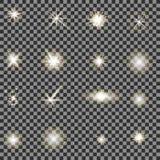 Ensemble de différentes lumières blanches Photographie stock libre de droits