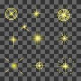 Ensemble de différentes lumières jaunes Images libres de droits