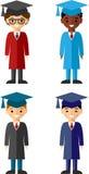 Ensemble de différentes nationalités d'étudiants dans la robe et la taloche d'obtention du diplôme Photo libre de droits