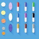 Ensemble de différentes pilules colorées illustration stock
