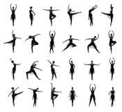 Ensemble de différentes poses de ballet. Traces noires et blanches Photo stock