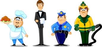 Ensemble de différentes professions comprenant l'attente de police illustration stock