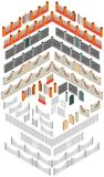 Ensemble de différents éléments pour créer des barrières dans la vue isométrique illustration stock
