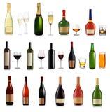 Ensemble de différents boissons et cocktails. Vecteur Photographie stock libre de droits