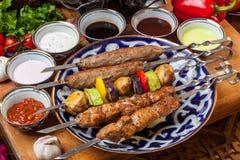 Ensemble de différents chiches-kebabs Images libres de droits