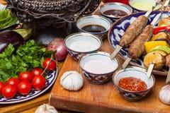 Ensemble de différents chiches-kebabs Image libre de droits