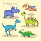 Ensemble de différents dinosaures mignons Photo stock