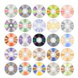 Ensemble de différents disques compacts colorés illustration de vecteur