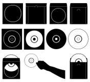 Ensemble de différents disques compacts et cas Images libres de droits