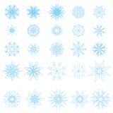 Ensemble de différents flocons de neige bleus illustration de vecteur