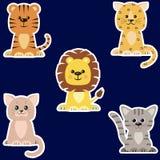 Ensemble de différents genres d'autocollants de chats illustration de vecteur