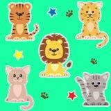 Ensemble de différents genres d'autocollants de chats illustration stock