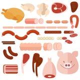 Ensemble de différents genres de viande et de demis-produits illustration libre de droits