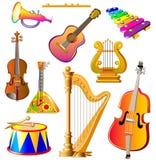 Ensemble de différents instruments de musique sur le fond blanc Photos stock