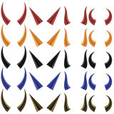 Ensemble de différents klaxons colorés illustration stock