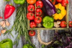 Ensemble de différents légumes colorés crus frais dans le plateau en bois Image libre de droits
