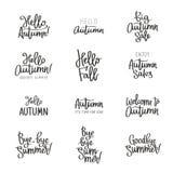 Ensemble de différents labels au sujet de l'automne Image stock