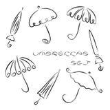 Ensemble de différents parapluies de bande dessinée Images libres de droits