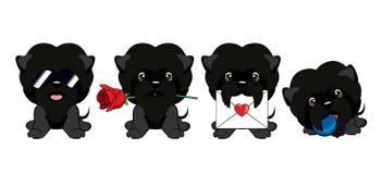 Ensemble de différents petits chiens Chiots noirs avec différentes émotions Illustration de Vecteur
