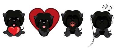 Ensemble de différents petits chiens Chiots noirs avec différentes émotions Illustration Libre de Droits