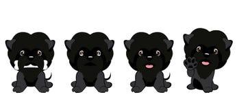 Ensemble de différents petits chiens Chiots noirs avec différentes émotions Illustration Stock