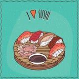 Ensemble de différents petits pains de sushi Nigiri illustration stock