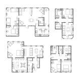 Ensemble de différents plans d'étage noirs et blancs de maison avec les détails intérieurs sur le blanc illustration stock