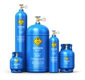 Ensemble de différents récipients industriels liquéfiés de gaz de l'oxygène illustration libre de droits