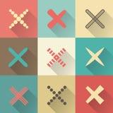 Ensemble de différents rétros croix et tics illustration stock