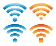 Ensemble de différents signes avec le signal de wifi illustration stock