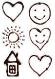 Ensemble de différents symboles de sirop de chocolat Photographie stock